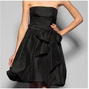 BCBG Maxazria Black Taffeta Strapless Bubble Dress